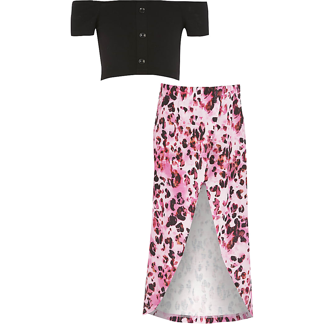 Girls black bardot cropped top outfit