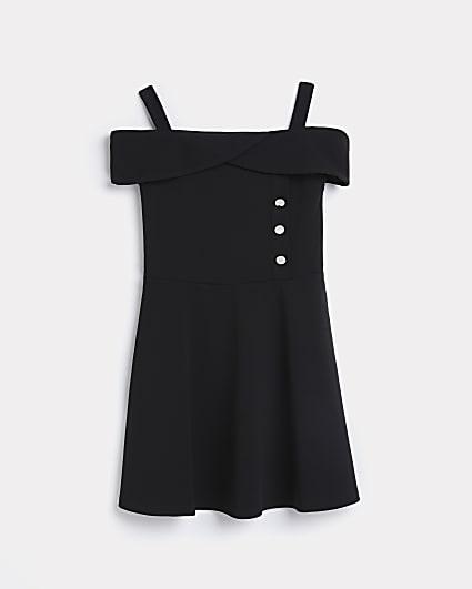 Girls black bardot skater dress