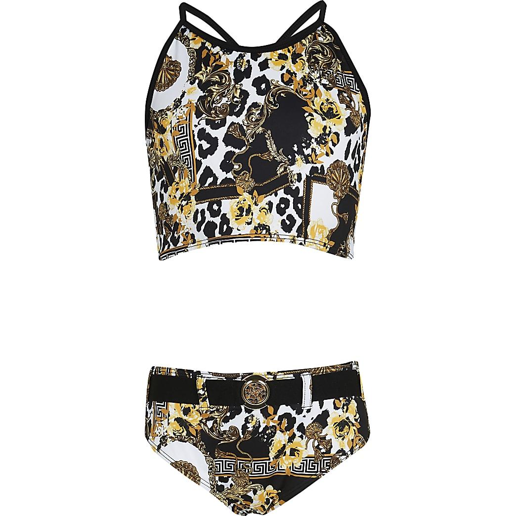 Girls black baroque bikini set