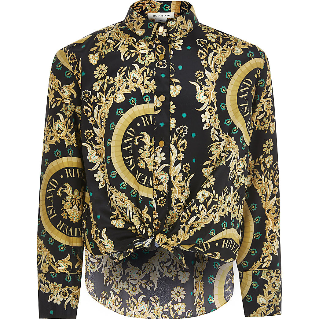 Girls black baroque long sleeve shirt