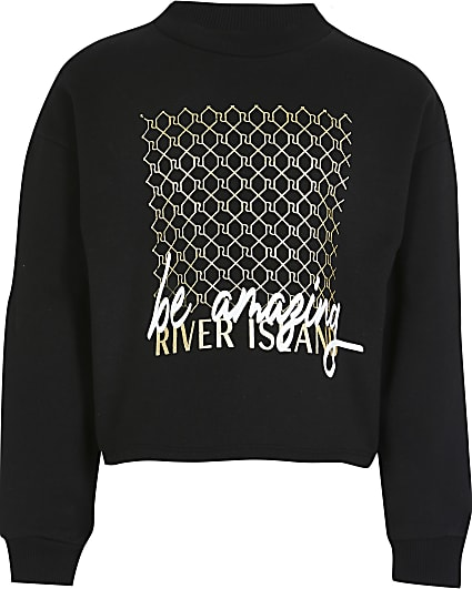 Girls black 'Be amazing' print sweatshirt