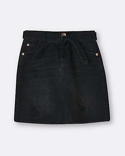 Girls black belted denim skirt