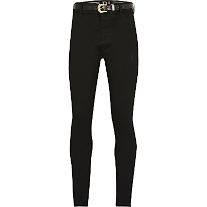 Girls black belted Molly mid rise jegging