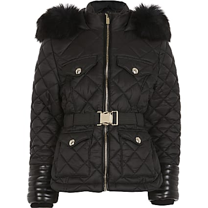 Girls black belted padded coat