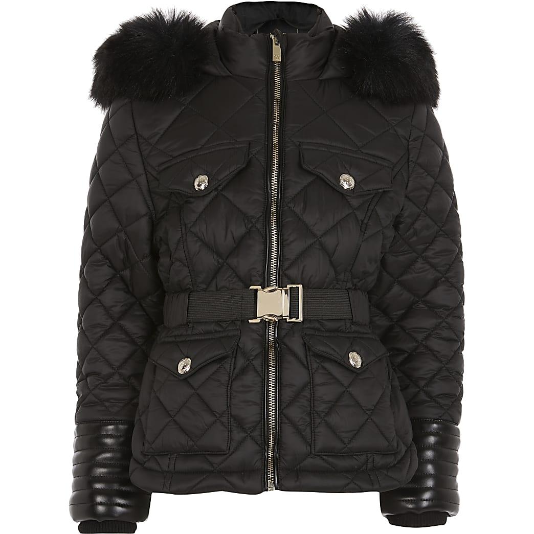 Girls black belted padded coat