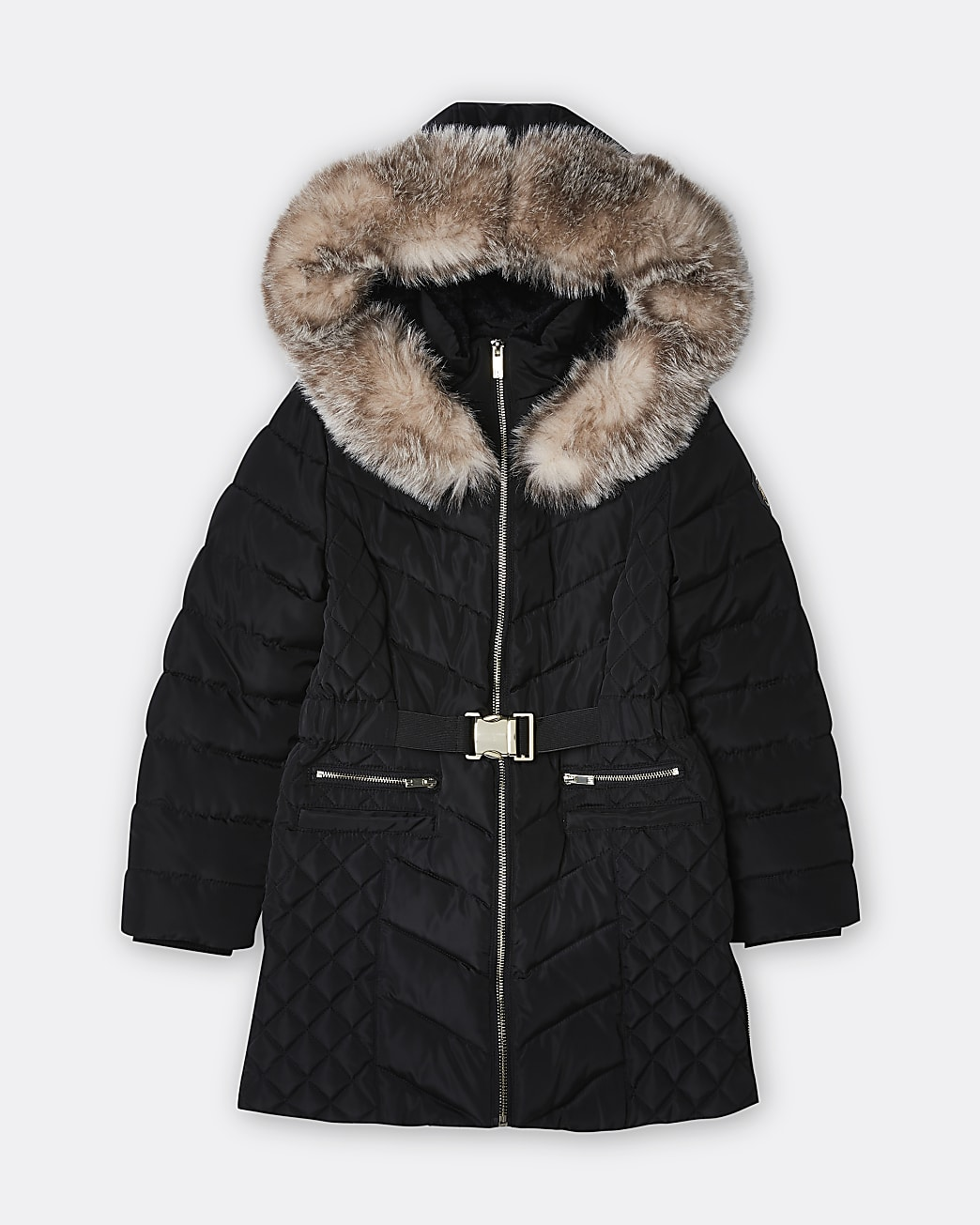 Girls black belted quilted puffer coat