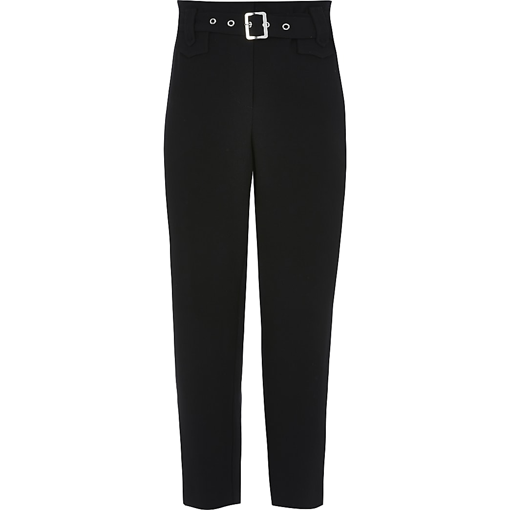 Girls black belted waist twill trousers