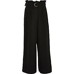 Zwarte broek met wijde pijpen en ceintuur voor meisjes