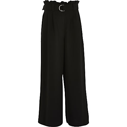 Girls black belted wide leg trousers