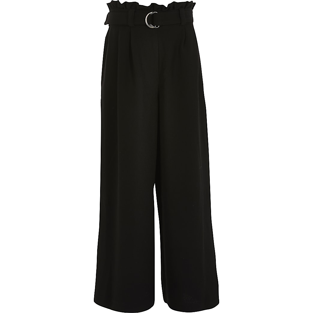 Girls black belted wide leg trousers