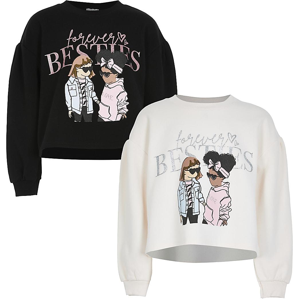 Girls black besties sweatshirts 2 pack