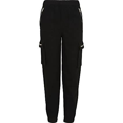 Girls black biker cargo joggers