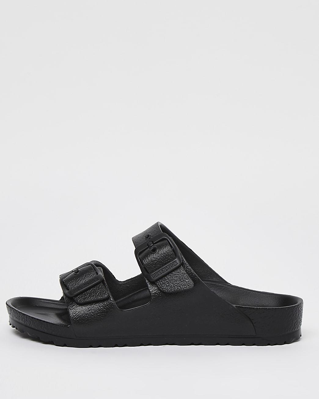 Girls black Birkenstock double strap sandals