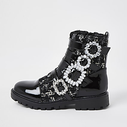 Girls black bling buckle ankle boots