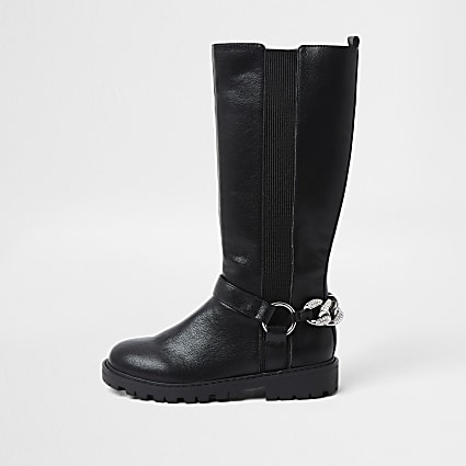 Girls black bling chain boots