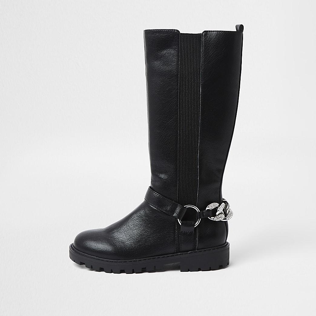 Girls black bling chain boots