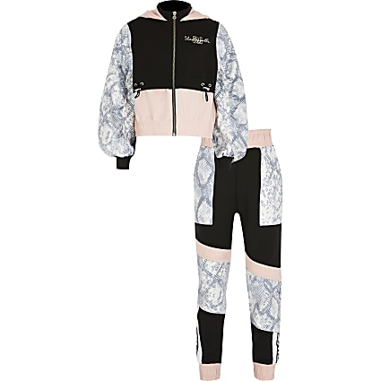 Girls black blocked Active tracksuit