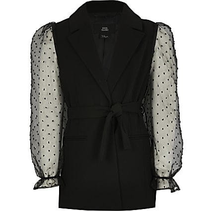 Girls black bobby organza sleeve blazer