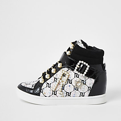 Girls black boucle hi top trainers