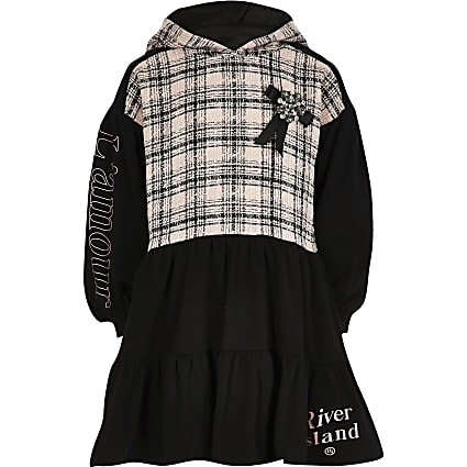 Girls black boucle tiered sweat dress