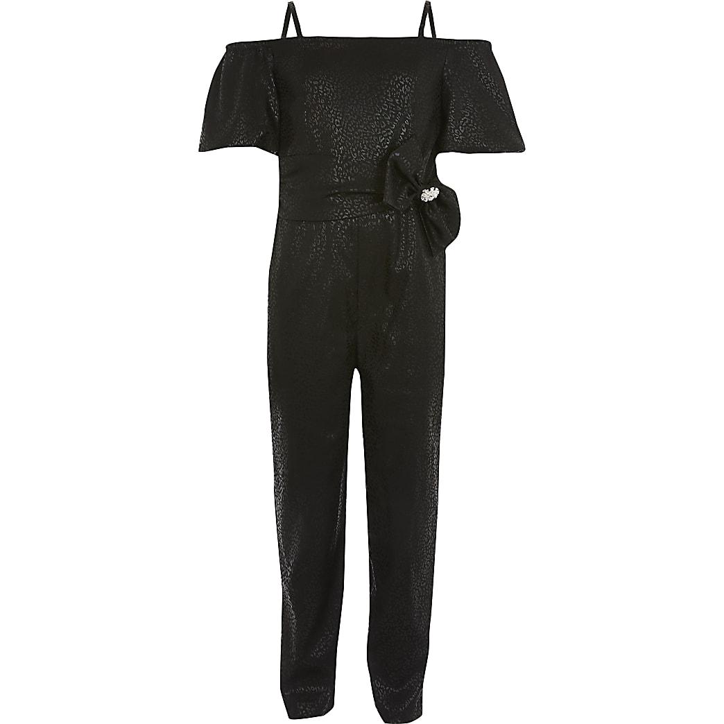 Girls black bow belted bardot jumpsuit