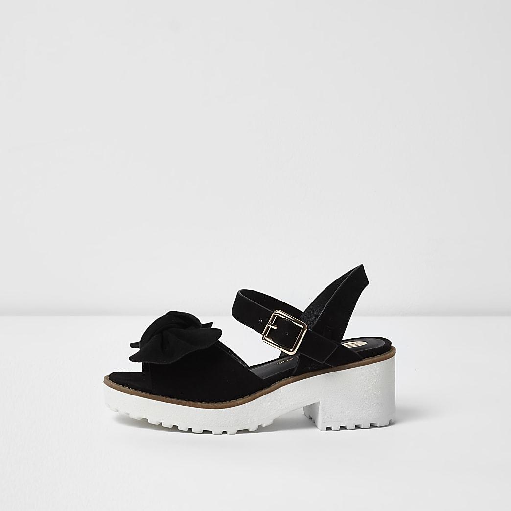 Girls black bow chunky sandals