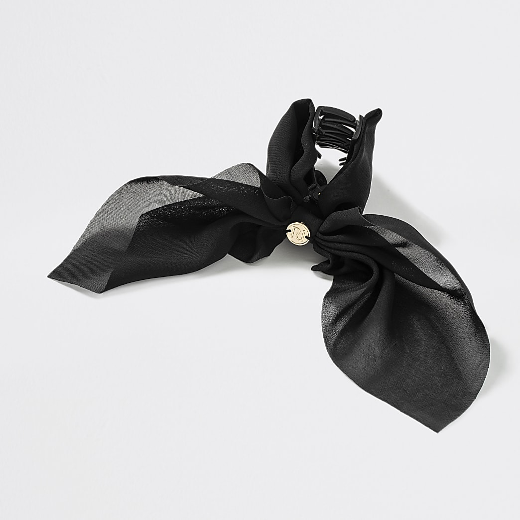 Girls black bow claw hair clip