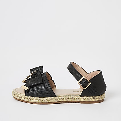 Girls black bow espadrille sandals