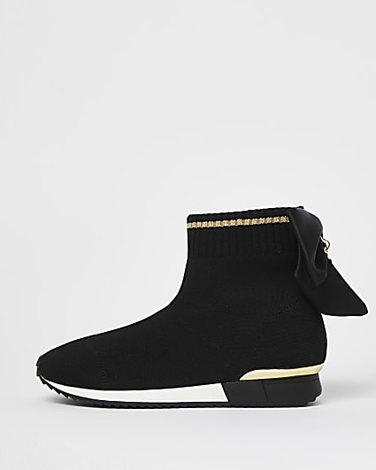 Girls black bow knit high top trainers