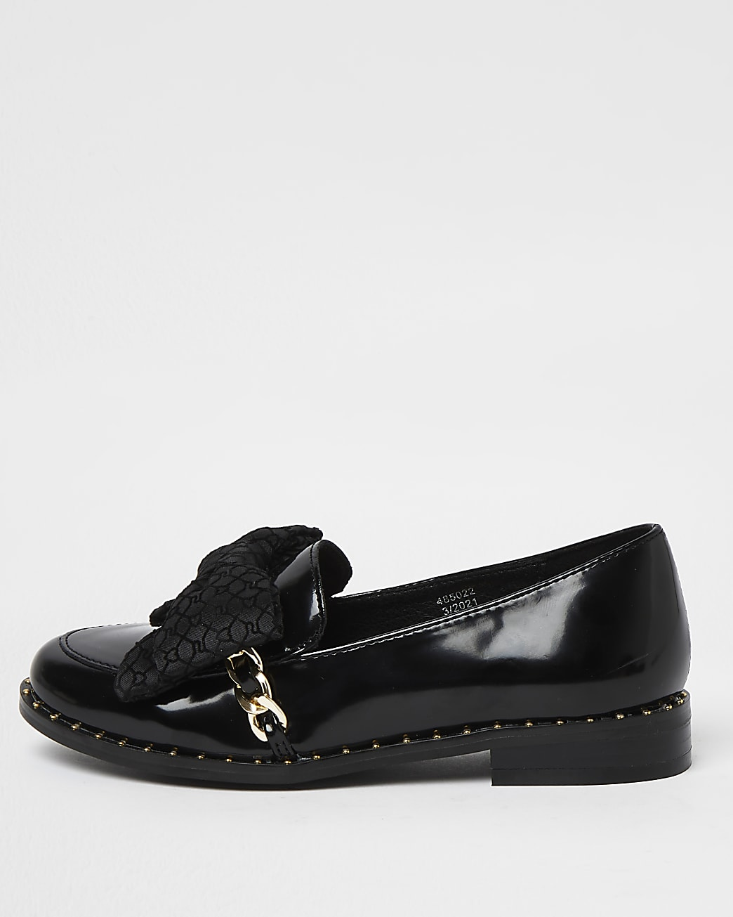 Girls black bow loafers
