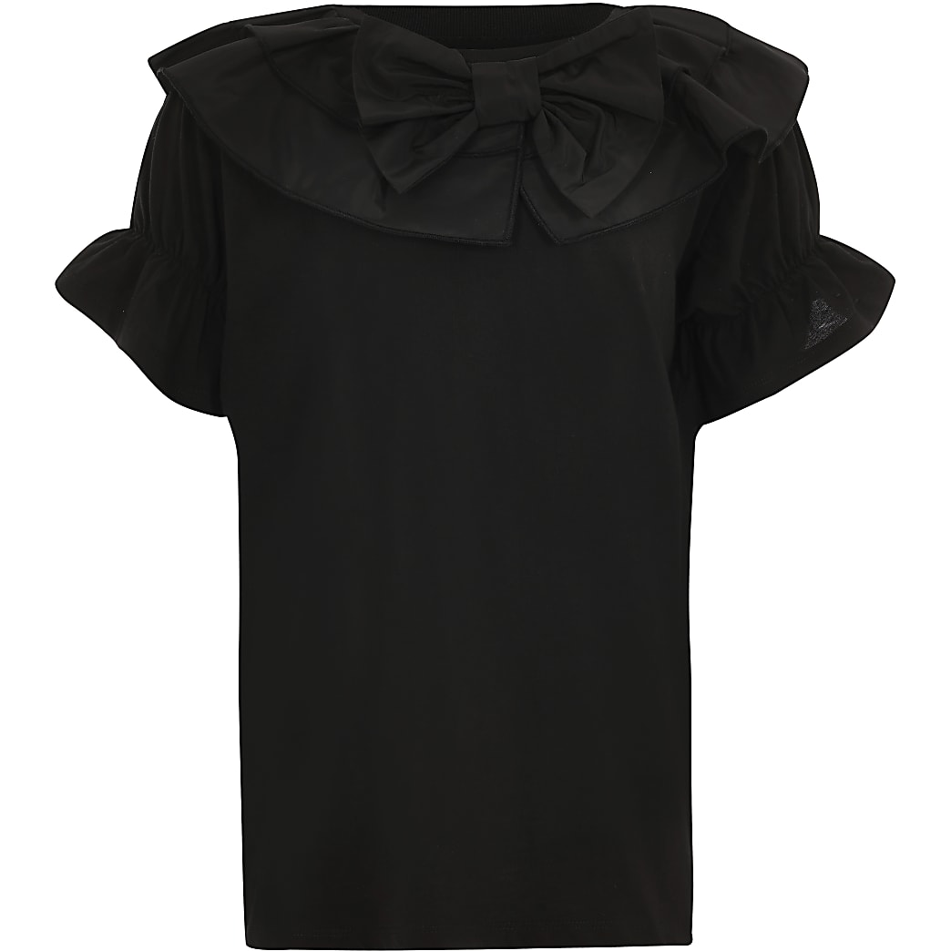 Girls black bow tafetta t-shirt