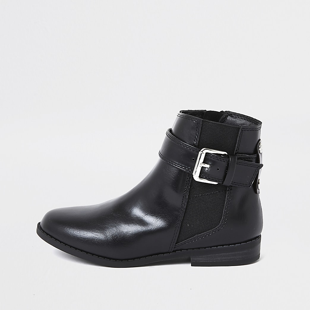 Girls black buckle flat ankle boots