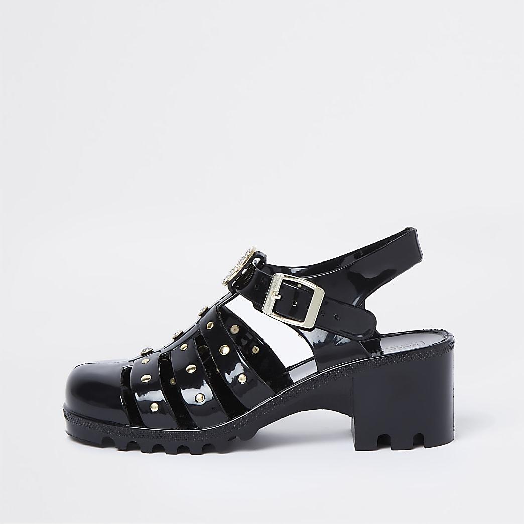 Girls black caged embellished jelly sandals