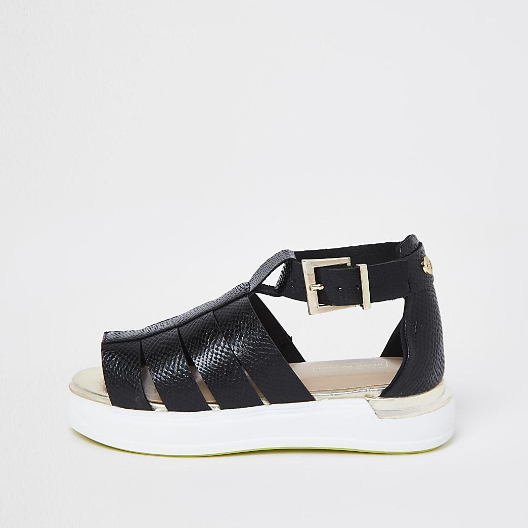 Girls black caged flat sports sandals