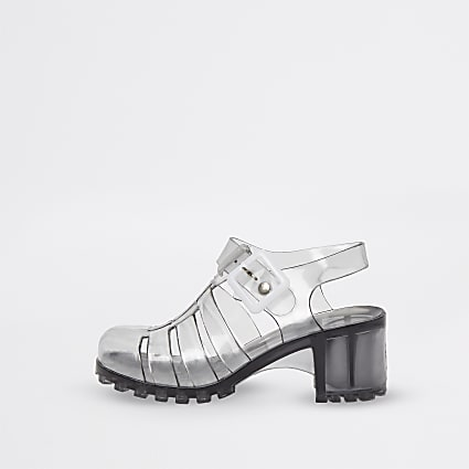Girls black caged heeled jelly sandals