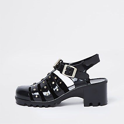 Girls black caged jelly heeled sandals