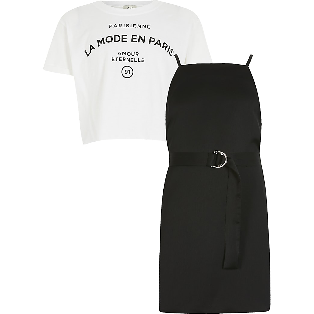 Girls black cami slip dress outfit