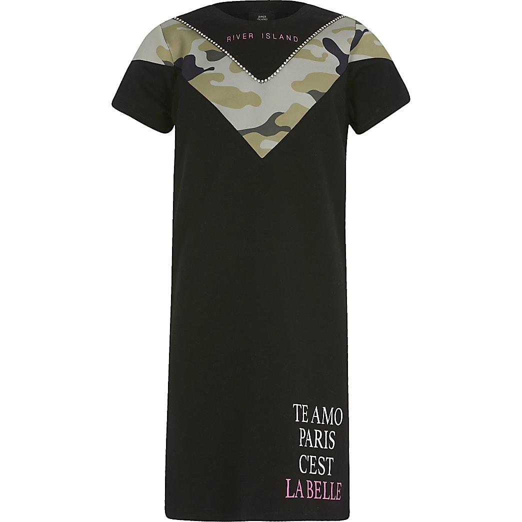 Girls black camo blocked T-shirt dress