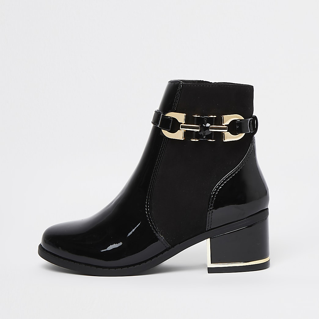 Girls black chain detail ankle boots
