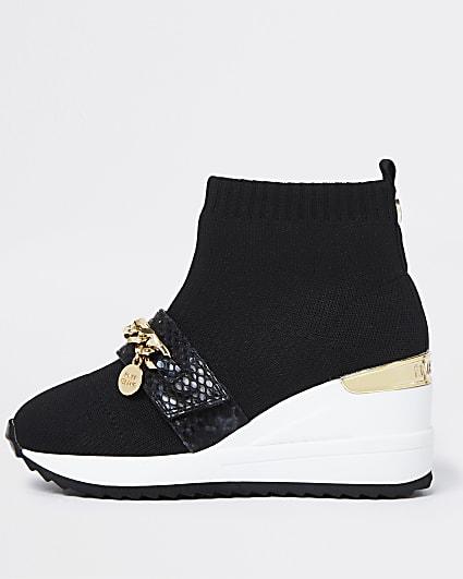Girls black chain knit sock wedge trainers