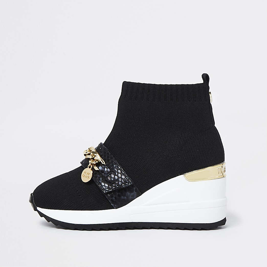 Girls black chain knit sock wedge trainers
