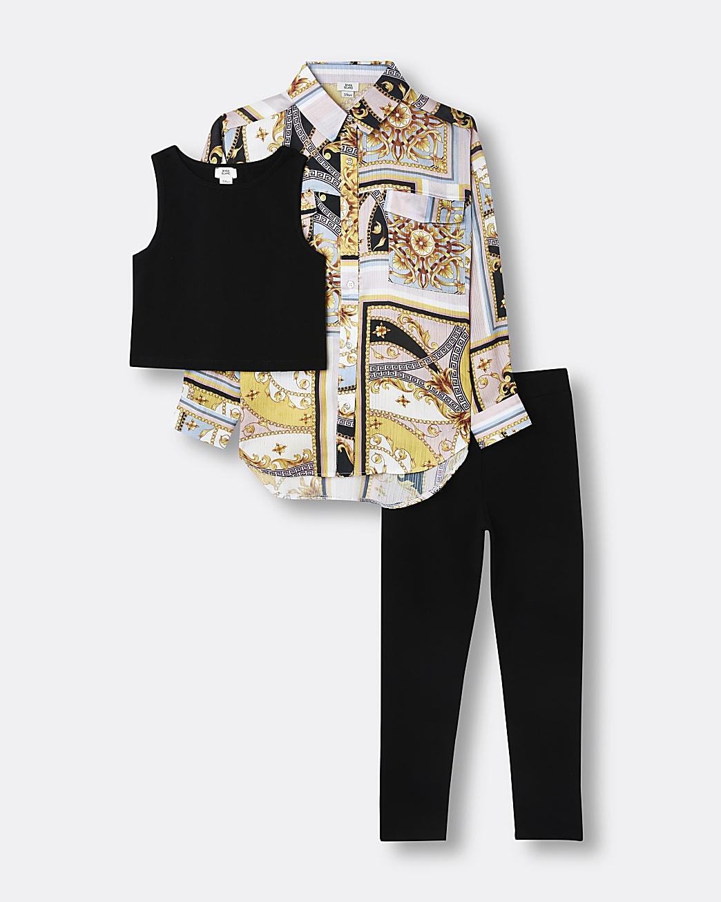 Girls black chain overshirt and leggings set