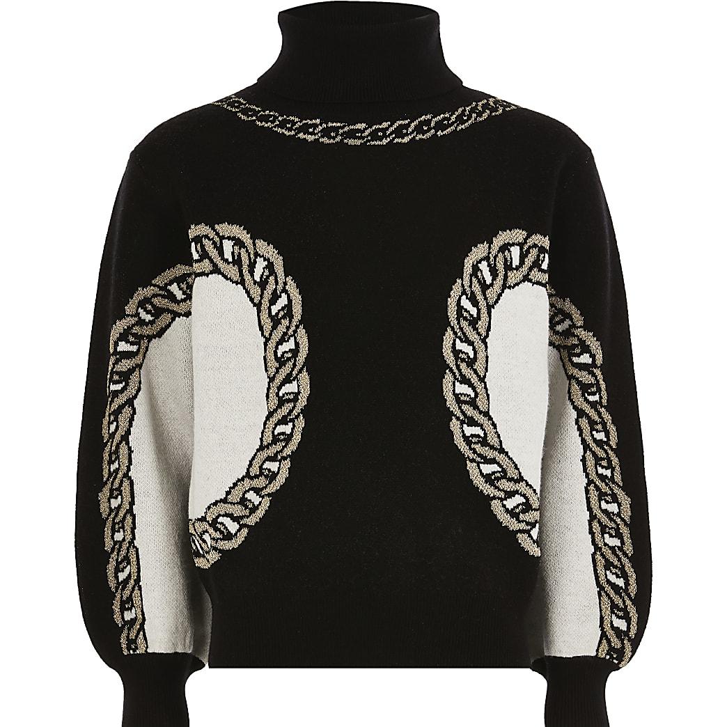 Girls black chain print jumper