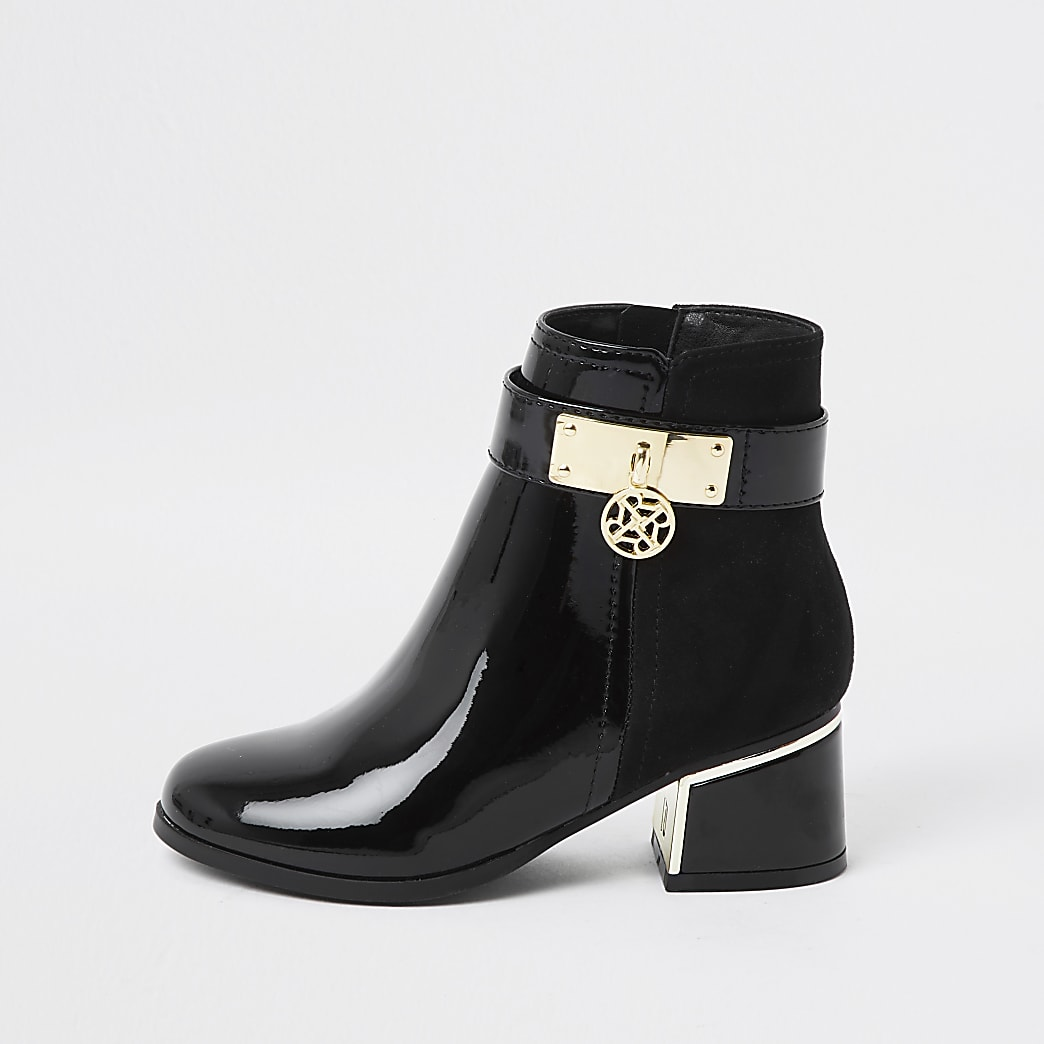 Girls black charm ankle boot