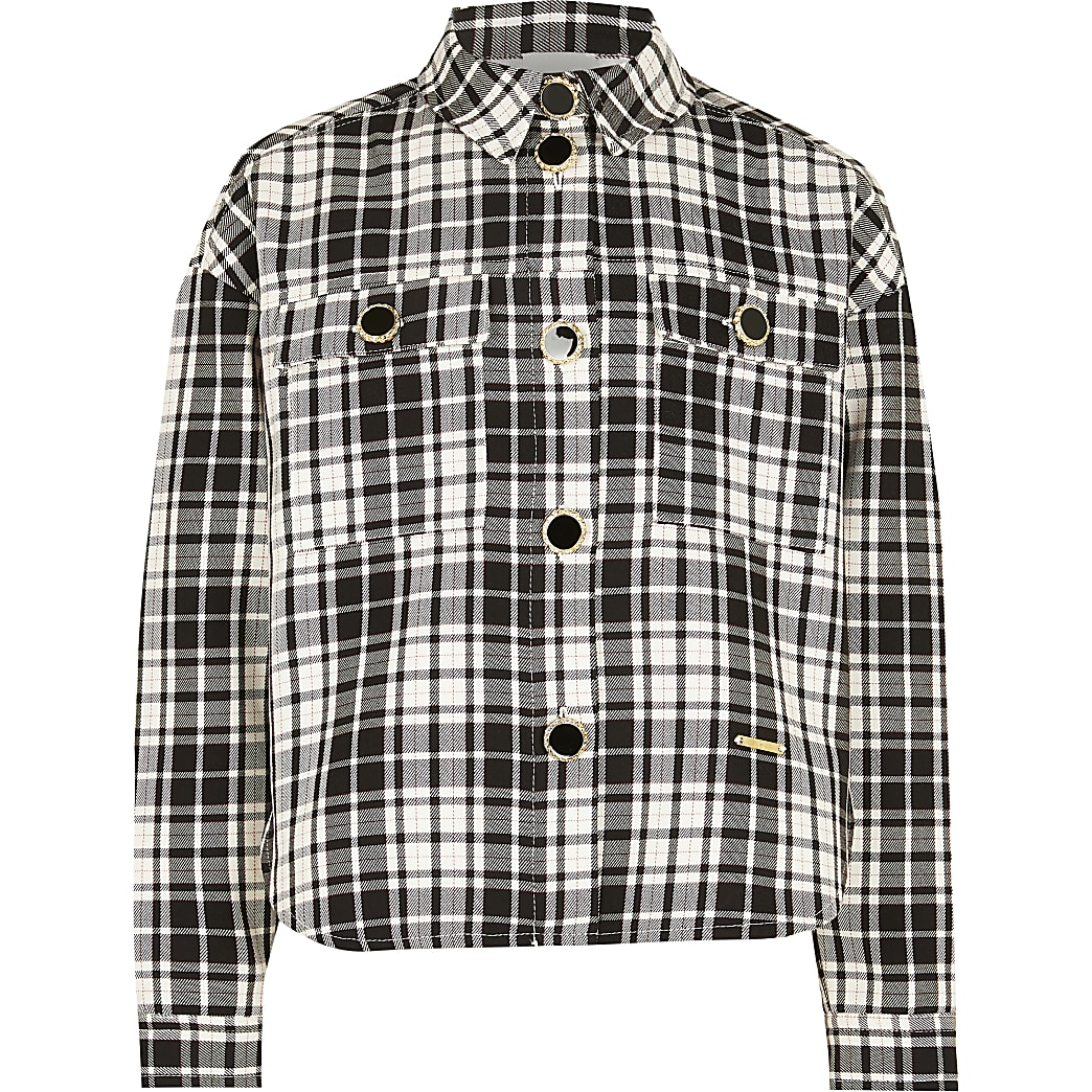 Girls black check shacket