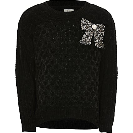 Girls black chenille jumper