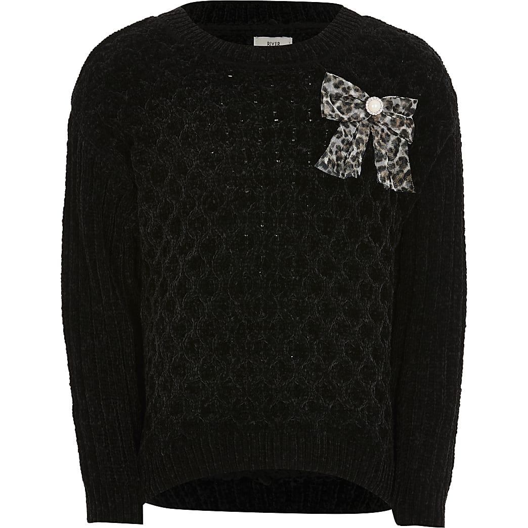 Girls black chenille jumper