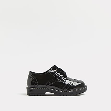 Girls black chunky brogue lace up shoes