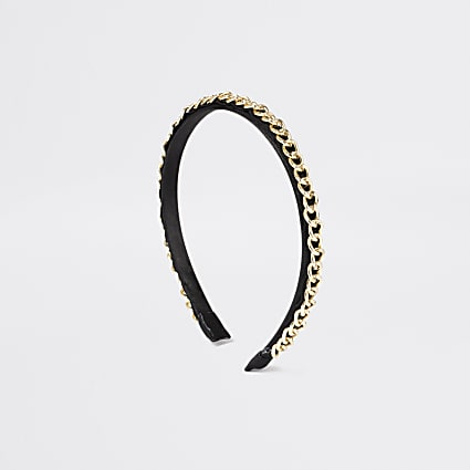 Girls black chunky chain headband