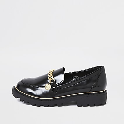 Girls black chunky chain loafer